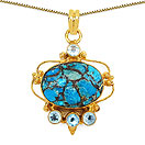 Masterpieces Blue Copper Turquoise Gold Plated Brass Oval Shape Solitaire Pendant