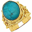 Masterpieces Turquoise Gold Plated Brass Oval Shape Solitaire Ring