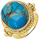 Masterpieces Blue Copper Turquoise Gold Plated Brass Oval Shape Solitaire Ring