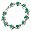 Gleam Touch Green Glass & White Glass Bracelet