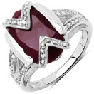 4.00CTW 11x9mm Oval Shape Dyed Ruby .925 Sterling Silver Solitaire Ring
