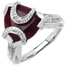3.50CTW 9.50mm-9.85mm Trillion Shape Dyed Ruby .925 Sterling Silver Solitaire Ring