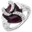 5.75CTW 13.00mm Heart Shape Dyed Ruby .925 Sterling Silver Solitaire Ring