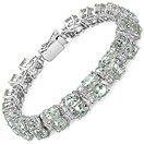 38.20 Grams Genuine Green Amethyst & White Cubic Zirconia .925 Sterling Silver Bracelet