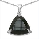 12.59CTW Genuine Black Onyx .925 Sterling Silver Pendant