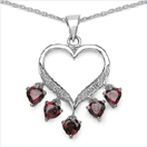 1.76CTW Genuine Garnet & White Topaz .925 Sterling Silver Heart Shape Pendant