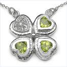 1.36CTW Genuine Peridot & White Cubic Zircon .925 Sterling Silver Heart Shape Pendant