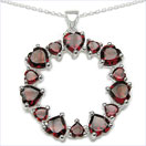 8.05CTW Genuine Garnet .925 Sterling Silver Heart Shape Pendant