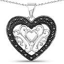 0.22CTW Genuine Black Diamond .925 Sterling Silver Heart Shape Pendant