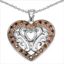 0.22CTW Red Diamond .925 Sterling Silver Heart Shape Pendant