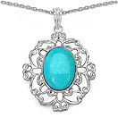 10.50CTW Genuine Turquoise .925 Sterling Silver  Pendant