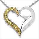 0.10CTW Genuine Yellow Diamond .925 Sterling Silver Heart Pendant
