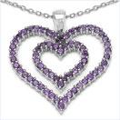 3.20CTW Genuine Amethyst .925 Sterling Silver Heart Shape Pendant