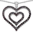 3.20CTW Genuine Garnet .925 Sterling Silver Heart Shape Pendant