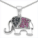 0.41CTW Blue Sapphire & Ruby .925 Sterling Silver Pendant