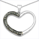 0.08CTW Genuine Blue Diamond .925 Sterling Silver Pendant