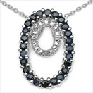 1.21CTW Blue Sapphire & Diamond .925 Sterling Silver Pendant