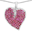 5.01CTW Genuine Ruby .925 Sterling Silver Heart Shape Pendant