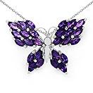 3.90CTW Genuine Amethyst .925 Sterling Silver Butterfly Shape Pendant