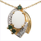1.14CTW Opal & Emerald .925 Sterling Silver Gold Plated Pendant
