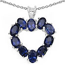 3.60CTW Genuine Iolite .925 Sterling Silver Heart Shape Pendant