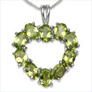4.50CTW Genuine Peridot Ovals .925 Sterling Silver Pendant