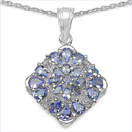 2.46CTW Genuine Tanzanite & White Topaz .925 Sterling Silver Pendant