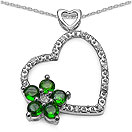 0.76CTW Genuine Chrome Diopside & White Topaz .925 Sterling Silver Pendant