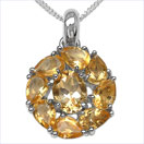 4.40CTW Genuine Citrine .925 Sterling Silver Pendant