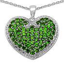 3.84CTW Genuine Chrome Diopside .925 Sterling Silver Pendant