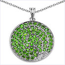 3.72CTW Genuine Chrome Diopside .925 Sterling Silver Pendant