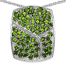3.98CTW Genuine Chrome Diopside .925 Sterling Silver Pendant
