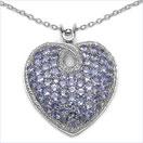 6.47CTW Genuine Tanzanite .925 Sterling Silver Heart Pendant