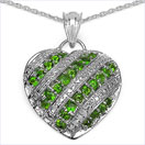 1.17CTW Genuine Chrome Diopside .925 Sterling Silver Heart Shape Pendant