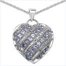 1.30CTW Genuine Tanzanite .925 Sterling Silver Heart Pendant