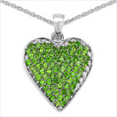 3.03CTWgenuine Chrome Diopside .925 Sterling Silver Heart Pendant