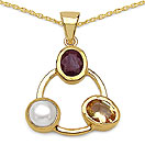 """7.30CTW Citrine, Ruby & Pearl 14K Yellow Gold Plated Brass Pendant"""
