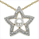 1.06CTW White Pearl & Cubic Zirconia .925 Sterling Silver Pendant