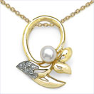0.51CTW Pearl & Cubic Zirconia Gold Plated .925 Sterling Silver Pendant