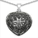 0.27CTW Genuine Black Diamond .925 Sterling Silver Pendant