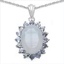 9.83CTW Genuine Blue Chalcedony & Tanzanite .925 Sterling Silver Pendant