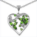 1.96CTW Genuine Chrome Diopside & White Topaz .925 Sterling Silver Heart Shape Pendant