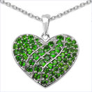 2.86CTW Genuine Chrome Diopside .925 Sterling Silver Heart Pendant