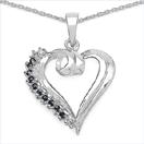 0.36CTW Genuine Blue Sapphire & White Topaz .925 Sterling Silver Heart Shape Pendant