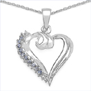 0.26CTW Genuine Tanzanite & White Topaz .925 Sterling Silver Heart Shape Pendant