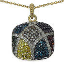 1.04CTW Genuine Multicolor Diamond 14K Yellow Gold Plated .925 Sterling Silver Pendant