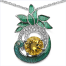 Tashan: 3.53CTW Citrine & White Cubic Zircon .925 Sterling Silver Pendant With Green Enamel