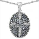 1.93CTW Genuine Tanzanite & White Topaz .925 Sterling Silver Pendant