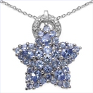 2.25CTW Genuine Tanzanite & White Cubic Zircon .925 Sterling Silver Pendant