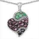 4.77CTW Genuine Multi Gemstone & White Diamond .925 Sterling Silver Heart Shape Pendant